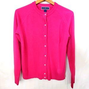 S Pink Karen Scott Cardigan Sweater Pearl Buttons